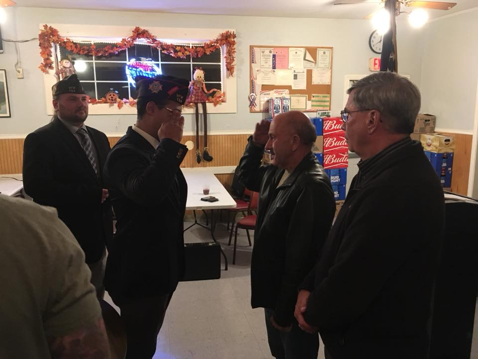 Our District 7/Post Commander Gam Rosa visiting and installing new Members at the Pat Ledoux VFW Post 9397 in Hampden, MA.